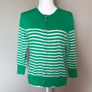 J. Crew Green and White Striped Clare Cardigan